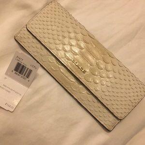 White Leather faux croc Coach Wallet